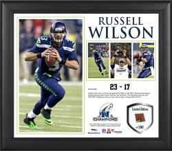 Russell Wilson Seattle Seahawks 2013 NFC Champions Framed 15'' x 17'' Collage-Limited Edition of 500 - Mounted Memories