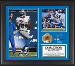 Calvin Johnson Detroit Lions Franchise Touchdown Reception Record Framed 15'' x  17'' Collage with Game-Used Ball - Limited Edition of 500 - Mounted Memories