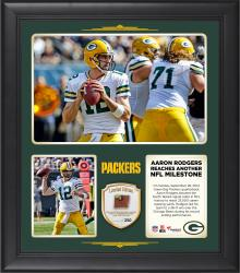 "Aaron Rodgers Green Bay Packers Becomes The Fourth Fastest Quarterback In NFL History To Reach 25,000 Yards Passing 15"" X 17"" Collage With Game-Used Football - Limited Edition of 250"