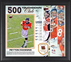 "Peyton Manning Denver Broncos Becomes the 2nd QB In NFL History To Pass for 500 Career Touchdowns 15"" X 17"" Collage With Game-Used Football - Limited Edition of 250"