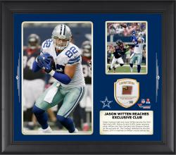 Jason Witten Dallas Cowboys Becomes Third Tight End To Reach Exclusive 10,000 Career Receiving Yards Club 15 X 17 Collage With Game Used Football