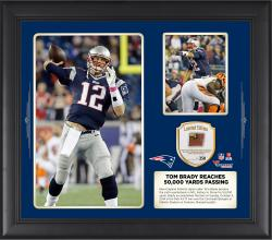 Tom Brady New England Patriots Becomes The Sixth Quarterback In NFL History to Reach 50,000 Yards Passing 15 X 17 Collage With Game Used Football