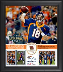 "Peyton Manning Denver Broncos Becomes NFL All-Time Touchdown Passing Record Leader Framed 15"" X 17"" 5 Collage With a  Piece of Game-Used Football – Limited Edition of 250"