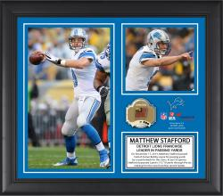 Matthew Stafford Detroit Lions Franchise All-Time Passing Record Framed 15'' x  17'' Collage with Game-Used Ball - Limited Edition of 500 - Mounted Memories