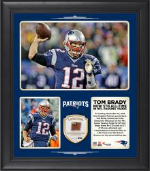 "Tom Brady New England Patriots Moves Into 5th Place On The NFL All-Time Career Passing 15"" X 17"" Collage With Game-Used Football - Limited Edition of 250"