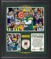 Aaron Rodgers Green Bay Packers Ties NFL Record With 6 Touchdown Passes in Win Over the Chicago Bears 15'' X 17'' Collage With Game-Used Football - Limited Edition of 250
