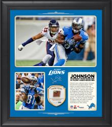 """Calvin Johnson Detroit Lions Became The Youngest Wide Receiver in NFL History to Record 10,000 Receiving Yards in His Team's 34-17 Win Over the Chicago Bears 15"""" x 17"""" Collage With Game-Used Football - Limited Edition of 250"""
