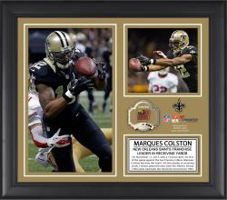 "Marques Colston New Orleans Saints Franchise All-Time Receiving Yards Record Framed 15"" x  17"" Collage with Game-Used Ball - Limited Edition of 500"