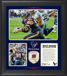 """J.J. Watt Houston Texans Became The First Player in NFL History to With 3 Touchdown Receptions, An Interception Return for a Touchdown, and Fumble Recovery for a Touchdown in the Same Season 15"""" x 17"""" Collage With Game-Used Football - Limited Edition of 2"""