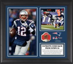 New England Patriots 24-Point Comeback Victory vs. the Denver Broncos Framed 15'' x  17'' Collage with Game-Used Ball - Limited Edition of 500 - Mounted Memories