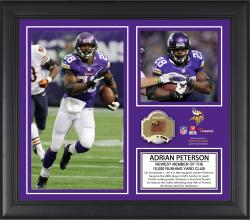 Adrian Peterson Minnesota Vikings 10,000 Rushing Yards Club Framed 15'' x 17'' Collage with Game-Used Ball - Limited Edition of 500 - Mounted Memories