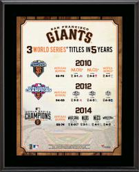 """San Francisco Giants Three Titles in Five Years 10.5"""" x 13"""" Sublimated Plaque"""