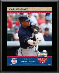 """Carlos Gomez Milwaukee Brewers 2014 MLB All-Star Game Sublimated 10.5"""" x 13"""" Plaque"""