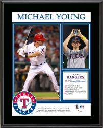 Michael Young Texas Rangers Retirement Sublimated 10.5'' x 13'' Plaque - Mounted Memories