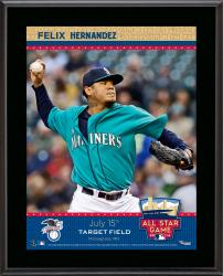 """Felix Hernandez Seattle Mariners 2014 MLB All-Star Game Sublimated 10.5"""" x 13"""" Plaque"""