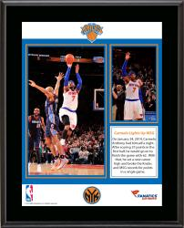 Carmelo Anthony New York Knicks Franchise Record 62 Points Sublimated 10.5'' x 13'' Plaque - Mounted Memories
