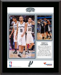 "Tim Duncan, Manu Ginobili, & Tony Parker San Antonio Spurs Most Career Playoff Wins By a Trio Sublimated 10.5"" x 13"" Plaque"