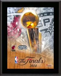 "Miami Heat vs. San Antonio Spurs 2014 NBA Finals Sublimated 10.5"" x 13"" Plaque"