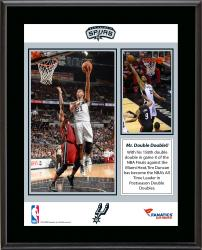 "Tim Duncan San Antonio Spurs NBA Leader in Playoff Double-Doubles In Career Sublimated 10.5"" x 13"" Plaque"