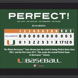 "Miami Hurricanes Perfect Game vs. Villanova Wildcats Sublimated 10.5"" x 13"" Plaque"