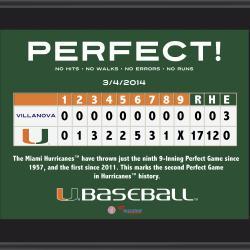 """Miami Hurricanes Perfect Game vs. Villanova Wildcats Sublimated 10.5"""" x 13"""" Plaque"""