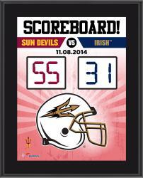 """Arizona State Sun Devils 2014 Win Over Notre Dame Fighting Irish Sublimated 10.5"""" x 13"""" Scoreboard Plaque"""