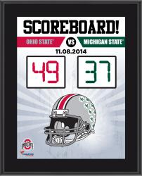 """Ohio State Buckeyes 2014 Win Over Michigan State Spartans Sublimated 10.5"""" x 13"""" Scoreboard Plaque"""
