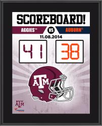 "Texas A&M Aggies 2014 Win Over Auburn Tigers Sublimated 10.5"" x 13"" Scoreboard Plaque"