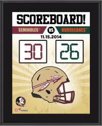"""Florida State Seminoles 2014 Win Over Miami Hurricanes Sublimated 10.5"""" x 13"""" Scoreboard Plaque"""