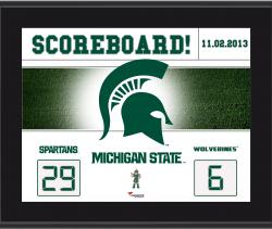 "Michigan State Spartans Win Over Michigan Wolverines Sublimated 10.5"" x 13"" Scoreboard Plaque"