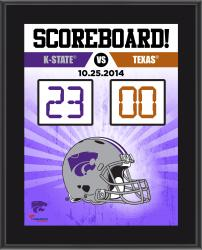 """Kansas State Wildcats 2014 Win Over Texas Longhorns Sublimated 10.5"""" x 13"""" Scoreboard Plaque"""