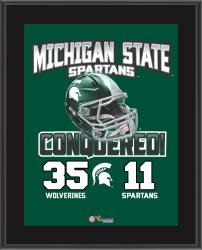 """Michigan State Spartans 2014 Win Over Michigan Wolverines Sublimated 10.5"""" x 13"""" Matchup Plaque"""