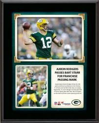 """Aaron Rodgers Green Bay Packers Franchise Passing Mark 10"""" X 13"""" Sublimated"""