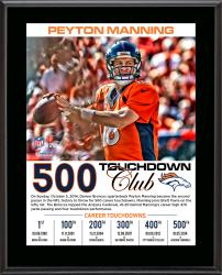 "Peyton Manning Denver Broncos Becomes the 2nd QB In NFL History To Pass for 500 Career Touchdowns 10"" X 13"" Sublimated"