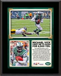 """Michael Vick New York Jets Becomes First QB In NFL To Rush For 6,000 Yards 10"""" x 13"""" Sublimated Plaque"""