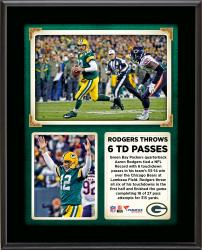 Aaron Rodgers Green Bay Packers Ties NFL Record With 6 Touchdown Passes in Win Over the Chicago Bears 10.5'' X 13'' Sublimated Plaque