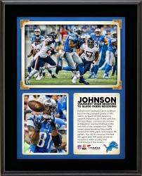 """Calvin Johnson Detroit Lions Became The Youngest Wide Receiver in NFL History to Record 10,000 Receiving Yards in His Team's 34-17 Win Over the Chicago Bears 10"""" x 13"""" Sublimated Plaque"""
