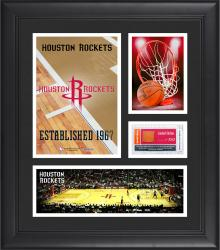 """Houston Rockets Team Logo Framed 15"""" x 17"""" Collage with Team-Used Baseketball"""