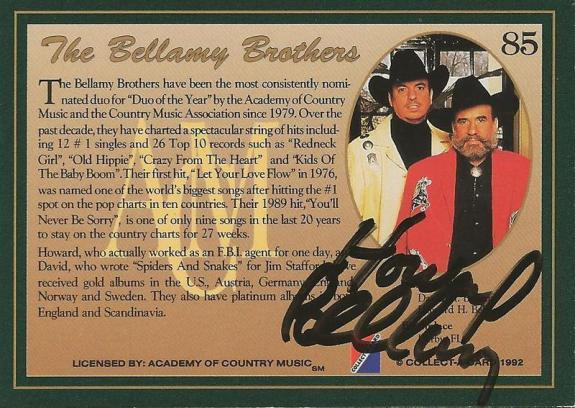 Howard Bellamy 1992 Collect a Card Autograph #85 Bellamy Brothers