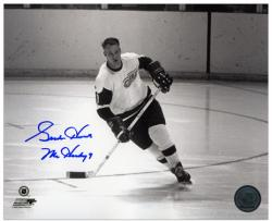 """Detroit Red Wings Gordie Howe Autographed 8"""" x 10"""" Helmet Off Photograph with Mr. Hockey Inscription"""