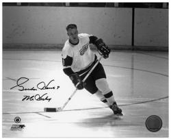 """Gordie Howe Detroit Red Wings Autographed 8"""" x 10"""" Action Black Ink Photograph with Mr. Hockey Inscription"""