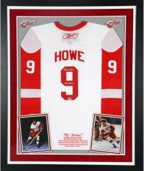 Gordie Howe Autographed Red Wings Jersey - Deluxe Framed