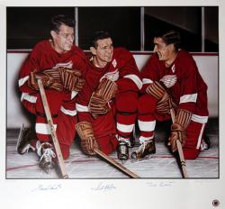 Detroit Red Wings Gordie Howe, Sid Abell, and Ted Lindsay Autographed Lithograph - Mounted Memories