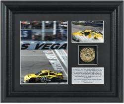Matt Kenseth 2013 Kobalt Tools 400 Race at Las Vegas Motor Speedway Framed 2-Photo Collage with Plate and Gold Coin - Mounted Memories