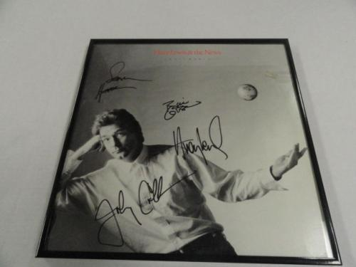 """Huey Lewis And The News Signed Framed """"small World"""" Lp Album 4x Rare"""