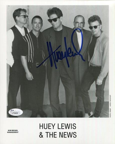 HUEY LEWIS HAND SIGNED 8x10 GROUP PHOTO        DO YOU BELIEVE IN LOVE        JSA