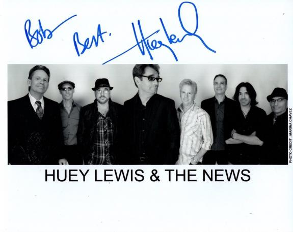 HUEY LEWIS HAND SIGNED 8x10 PHOTO+COA       ROCK+ROLL LEGEND    TO BOB
