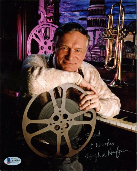 Hugh Hefner Best Wishes Signed 8x10 Photo Autographed BAS #A10784