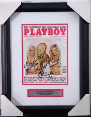 Hugh Hefner & Girls Next Door Signed Playboy Cover Framed Psa/dna #y00372 Rare