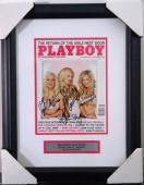 Hugh Hefner & Girls Next Door Signed Playboy Cover Framed Psa/dna #y00372 Rare